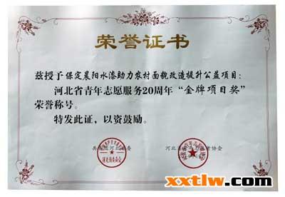 阳水漆获河北省青年志愿服务20周年 金牌项目奖 荣誉称号