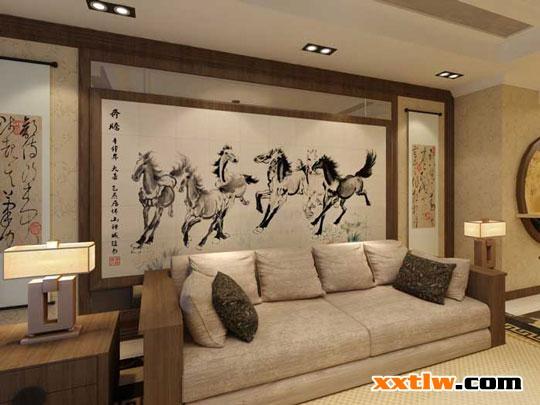 蓝天豚水性硅藻泥沙发背景墙装修效果图